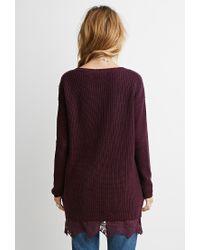 Forever 21 | Purple Lace-hem Longline Sweater | Lyst