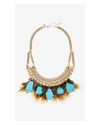 Express - Blue Turquoise, Feather And Cord Necklace - Lyst