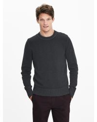 Banana Republic | Black Plaited Filpucci Italian Wool Crew Pullover for Men | Lyst