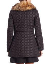 RED Valentino - Black Patterned Faux Fur-collar Puffer Coat - Lyst