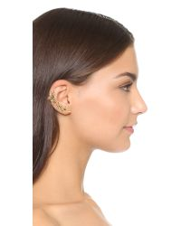 Oscar de la Renta | Natural Crystal Leaf Asymmetrical Earring Set - Sand | Lyst
