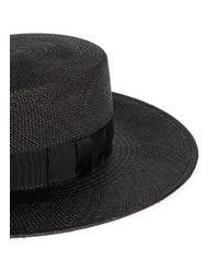 Janessa Leone | Black 'jane' Flat Top Straw Panama Hat for Men | Lyst