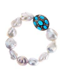 Bavna - Pink Freshwater Pearl Turquoise Diamond Bracelet - Lyst
