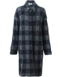 Barena - Blue Checked Coat - Lyst