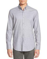 BOSS - Gray 'leonard' Regular Fit Melange Sport Shirt for Men - Lyst
