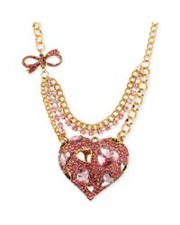 Betsey Johnson | Metallic Goldtone Pink Crystal Heart Pendant Necklace | Lyst