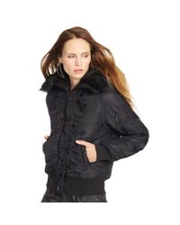Denim & Supply Ralph Lauren - Black Hooded Down Bomber Jacket - Lyst