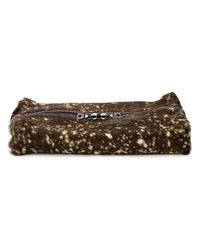 Isaac Reina - Brown Dotted Fur Zipped Wash Bag - Lyst