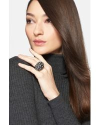 St. John - Black Faux Pearl Cocktail Ring - Ruthinium/ Crystal/ Grey Pearl - Lyst