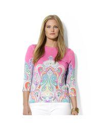Lauren by Ralph Lauren | Pink Plus Three Quarter Sleeve Paisley Print Top | Lyst