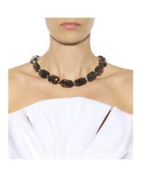 Oscar de la Renta - Black Crystal Embellished Necklace - Lyst