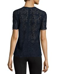 Nina Ricci - Blue Short-sleeve Cotton Lace Top - Lyst