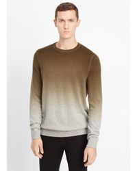Vince | Gray Wool Cashmere Dégradé Crew Neck Sweater for Men | Lyst