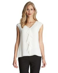 Cece by Cynthia Steffe - Natural Ruffle Front V-neck Blouse - Lyst