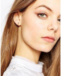 Pilgrim - Metallic Pointed Bar Stud Earrings - Lyst