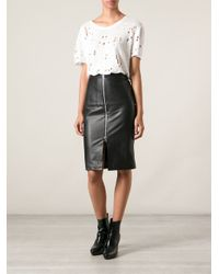 Muubaa - Black Leather Pencil Skirt - Lyst