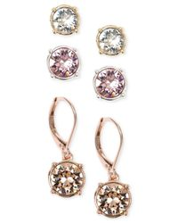Nine West | Pink Tri-tone Multi-color Crystal Stud And Drop Earring Set | Lyst
