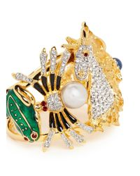 Kenneth Jay Lane - Metallic Flocks Of Fantasy' Glass Pearl Crystal Pavé Enamel Bangle - Lyst