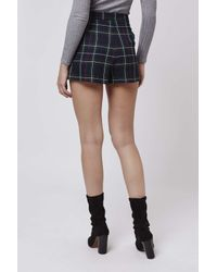 TOPSHOP | Blue Petite Tartan High-waisted Shorts | Lyst
