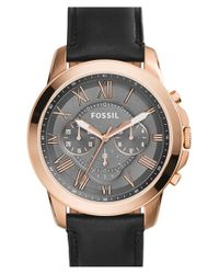 Fossil | Black 'grant' Round Chronograph Leather Strap Watch | Lyst
