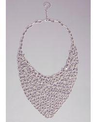 Bebe - Metallic Crystal Bib Chain Necklace - Lyst