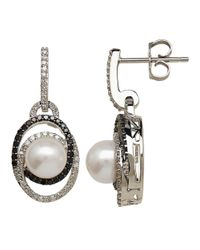 Lord & Taylor | White Freshwater Pearl And Diamond Sterling Silver Drop Earrings, 0.50 Tcw | Lyst