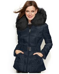 Laundry by Shelli Segal | Blue Faux-fur-hooded Belted Down Puffer Coat | Lyst