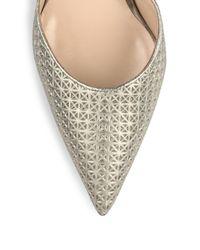 Manolo Blahnik - Star-stamped Metallic Leather D'orsay Pumps - Lyst