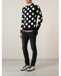 AMI - Black Polka Dot Sweater for Men - Lyst