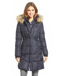 DKNY | Blue 'faith' Faux Fur Trim Long Down & Feather Fill Parka | Lyst