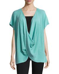 Natori - Blue Draped Short-sleeve Ribbed Sweater - Lyst