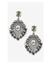 Express - Black Deco Teardrop Post Earrings - Lyst