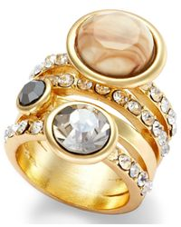 INC International Concepts | Metallic Gold-tone Glass Stone Multi-row Stretch Ring | Lyst