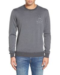 Psycho Bunny | Gray 'sw146' Stripe Crewneck Sweater for Men | Lyst