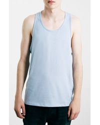 TOPMAN | Blue Classic-Fit Jersey Tank Top for Men | Lyst