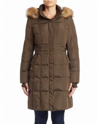 Jones New York | Brown Faux Fur-trimmed Coat | Lyst