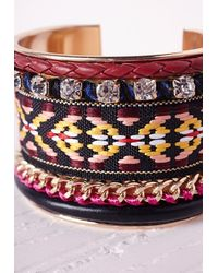 Missguided - Multicolor Beaded Aztec Cuff Multi - Lyst