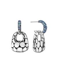 John Hardy | Kali Silver Lava Drop Earrings W/ Swiss Blue Topaz & Iolite | Lyst
