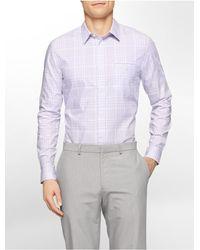 7632e9e26a7 Calvin Klein. Men s Purple White Label Slim Fit Check Cotton Twill Dobby  Shirt