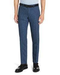 BOSS - Blue 'kaito'   Slim Fit, Wool Blend Melange Dress Pants for Men - Lyst