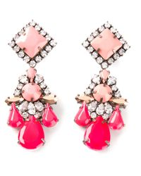 Shourouk - Pink Dropped Embellished Earrings - Lyst