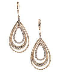 Judith Jack - Metallic Gold Marcasite Leverback Hoop Earrings - Lyst