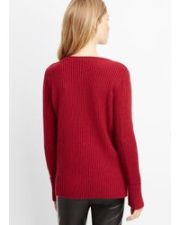 VINCE | Red Wool Cashmere Directional Rib Boatneck Sweater | Lyst