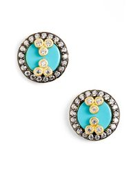 Freida Rothman | Blue 'femme' Button Stud Earrings - Gunmetal/ Turquoise | Lyst