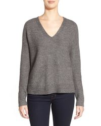 Eileen Fisher | Gray V-neck Boxy Wool Blend Sweater | Lyst