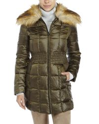 Laundry by Shelli Segal - Green Faux Fur Collar Down Coat - Lyst
