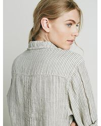 Free People - Natural X Cp Shades Womens Stripe Boyfriend Shirt - Lyst