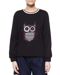 Mother Of Pearl - Black Baley Embellished Owl Knit Top - Lyst