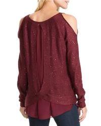 Jessica Simpson   Red Tearose Open-shoulder Metallic Sweater   Lyst