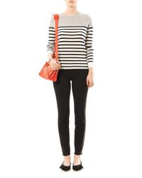 FRAME - Black Le Luxe Leather Tux Stripe Midrise Skinny Jeans - Lyst